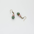 Pink, Green, White and Oxidised Brass Necklace with Matching Earrings