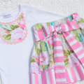 Girls Big Bow Skirt - Mint Pink vintage summer winter party skirt