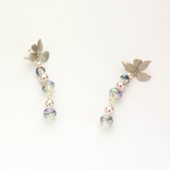 Silver, Pink Pearl and Pale Blue Crystal Stud Earrings