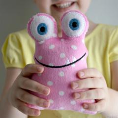 Rattle Monster Pink Polka Dots