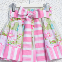 Girls Big Bow Skirt - Mint Pink vintage summer winter party skirt