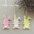 Clay Tags - Cottontail Easter  Bunnies (set of 3)