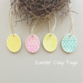 clay tags - rustic spot Easter eggs (set of 4)