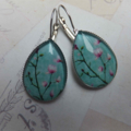 Turquoise Cherry Blossom Teardrop Earrings