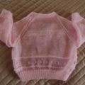Size 6-12 months: Hand knitted cardigan in pink by CuddleCorner: OOAK,