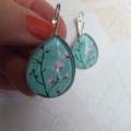 Turquoise Cherry Blossom Teardrop Earrings