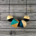 Kaleidoscope wooden bead necklace. Neptune.