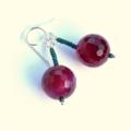 Crimson Agate and Green Seed Bead Earrings