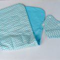 Blue Chevron pattern universal pram liner with matching seatbelt covers