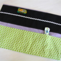 Car Wallet with Road, storage roll for six toy cars - green, blue and purple