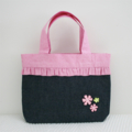 Girls Tote Bag - Denim and Pink