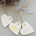 clay gift tags - coloured LOVE (set of 3 hearts)