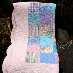 Patchwork Cot Quilt with Scalloped Border- **Reserved for Filoreta