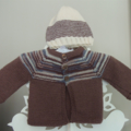 Hand Knit, Wool, NB Baby, Jacket Cardigan, Beanie Hat, Brown/Blue/Cream