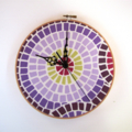 Mosaic Clock- In purple. red & yellow