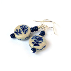 Classic Blue and White Ceramic Flower Earrings