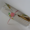crayon roll (vintage yellow floral and stripe)