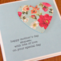 MUM Mother's Day card paper heart vintage floral turquoise limited edition