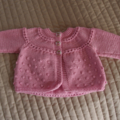 SIZE 0-6 months - Hand knitted baby cardigan/ jacket in pink