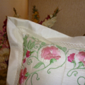 Sweet Pea machine embroidered cushion.