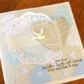 mother's day card bird & paper heart & doily