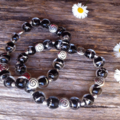 Black & Silver Foil Lined Lampwork Glass Bead Bracelets