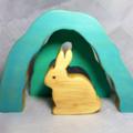 Wooden Bunny Cave Stacker Puzzle- waldorf, steiner