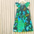 Peacock dress flutter sleeve turquoise black