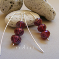 Argentium Sterling Silver range - oiled ruby Czech glass bead earrings