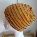 Hand Knit, Child / Teen, Wool Slouchie Beanie Hat, Mustard Yellow / Red / Green