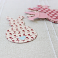 Garland Bunting Easter Bunnies Red & Pink