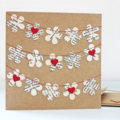 Flower Garland Card Recycled Paper Book Pages Red Birthday Mothers Day