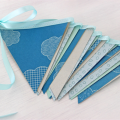 Paper Bunting Blue Baby Shower Boy Birthday Party Nursery Garland