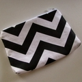 Black & White Zig Zag/Chevron Zip Pouch - Coin Purse - Zip Purse