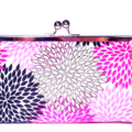 Purple flowers large clutch purse