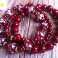 Bordeaux, Swirl, Lampwork Glass Bead & Glass Pearl Bracelet 3 Piece Set