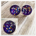 Deep Purple & Glitter Studs  / Earrings