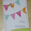 Colourful Female Happy Birthday card with bunting - girls, mum, mother, sister