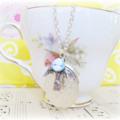 Mr Darcy Locket Charm Necklace. Wedgewood Blue Vintage Cameo White Jane Austen