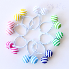 WHITE & BRIGHT MIX. Hair ties with funky baubles.