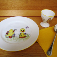 Hand painted Royal Doulton plate and Egg Cup