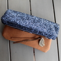 Fold over clutch, navy sequins and leather
