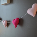 Heart garland hand sewn felt