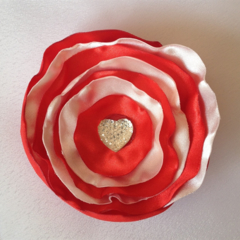 Fabric Poppy Hair Clip for toddlers - White and Red