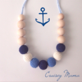 Cruisey Mama blue nautical colours - crochet teething necklace