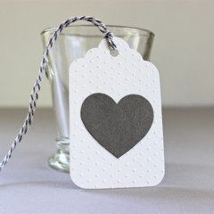 Set of 3 Large Gift Tags White Embossed Paper Grey Heart - Birthday, Wedding