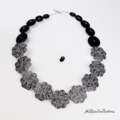 Hippy Heart Flower Black White - Buttons Necklace  - Jewellery - Bonus Earrings