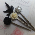 Black and White Vintage Style Hair Clips-4 hair clips