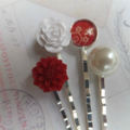 Red Flower Vintage Style Hair Clips-4 hair clips