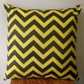 Yellow & Black Chevron/Zig Zag Cushion Cover - Retro Cushions - 45cm